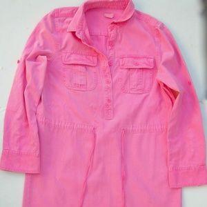 Hot Pink Soft Cotton Shirt Dress 4 J Crew Pockets